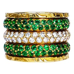 3 Band Ring with Tsavorites and Diamonds in 19.2 Karat Yellow Gold