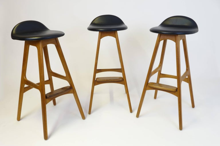 Danish 3 Barstools OD, 61 by Erik Buch for Odense Mobelfabrik Denmark 1950s Design Teak For Sale