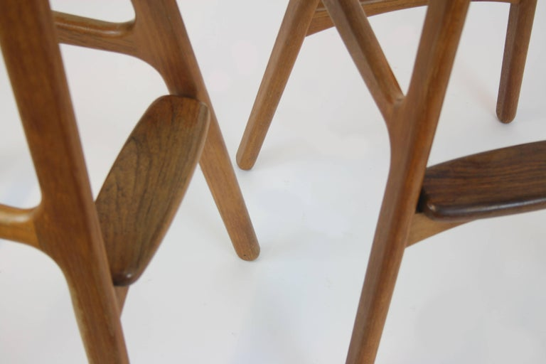 3 Barstools OD, 61 by Erik Buch for Odense Mobelfabrik Denmark 1950s Design Teak In Good Condition For Sale In Vienna, AT
