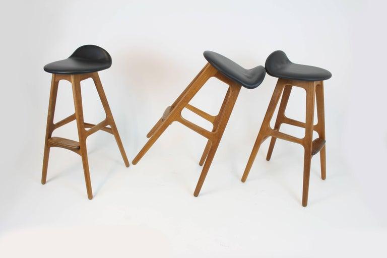 Mid-20th Century 3 Barstools OD, 61 by Erik Buch for Odense Mobelfabrik Denmark 1950s Design Teak For Sale