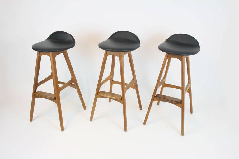 3 Barstools OD, 61 by Erik Buch for Odense Mobelfabrik Denmark 1950s Design Teak For Sale 1