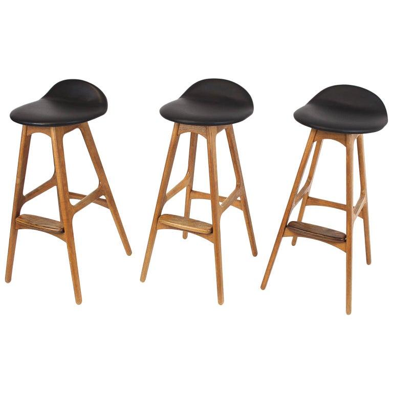 3 Barstools OD, 61 by Erik Buch for Odense Mobelfabrik Denmark 1950s Design Teak For Sale