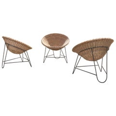 3-Basket Wicker Chairs in the Style of Mathieu Mategot
