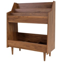 3 Bay Luxe Record Stand in Natural Walnut