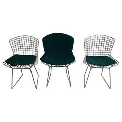 3 Bertoia Chrome Chairs with Green Cushions