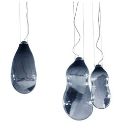 3 Blue Bubble Pendants Ensemble, Signed Alex de Witte