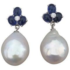 3 Blue Sapphire Oval Cabs Gold Diamonds Pear Shape Baroque Pearls Earrings