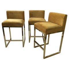 3 Brass Bar and Counter Stools
