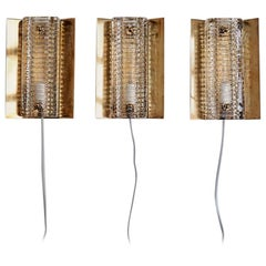 3 Brass Sconces with Thick Glass Shades, Danish Design from Vitrika, 1960s