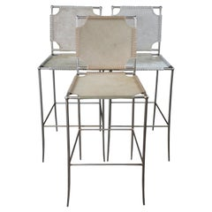 3 Caracole in Stitches Leather Bar Stools ATS Southwestern Modern Artisan