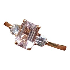 3 Carat 14 Karat Rose Gold 3-Stone Emerald Morganite Engagement Ring