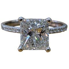 3 Carat 14 Karat White Gold Princess Diamond Art Deco Ring, Engagement Ring