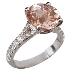 3 Carat 14 Karat White Gold Round Morganite Engagement Ring