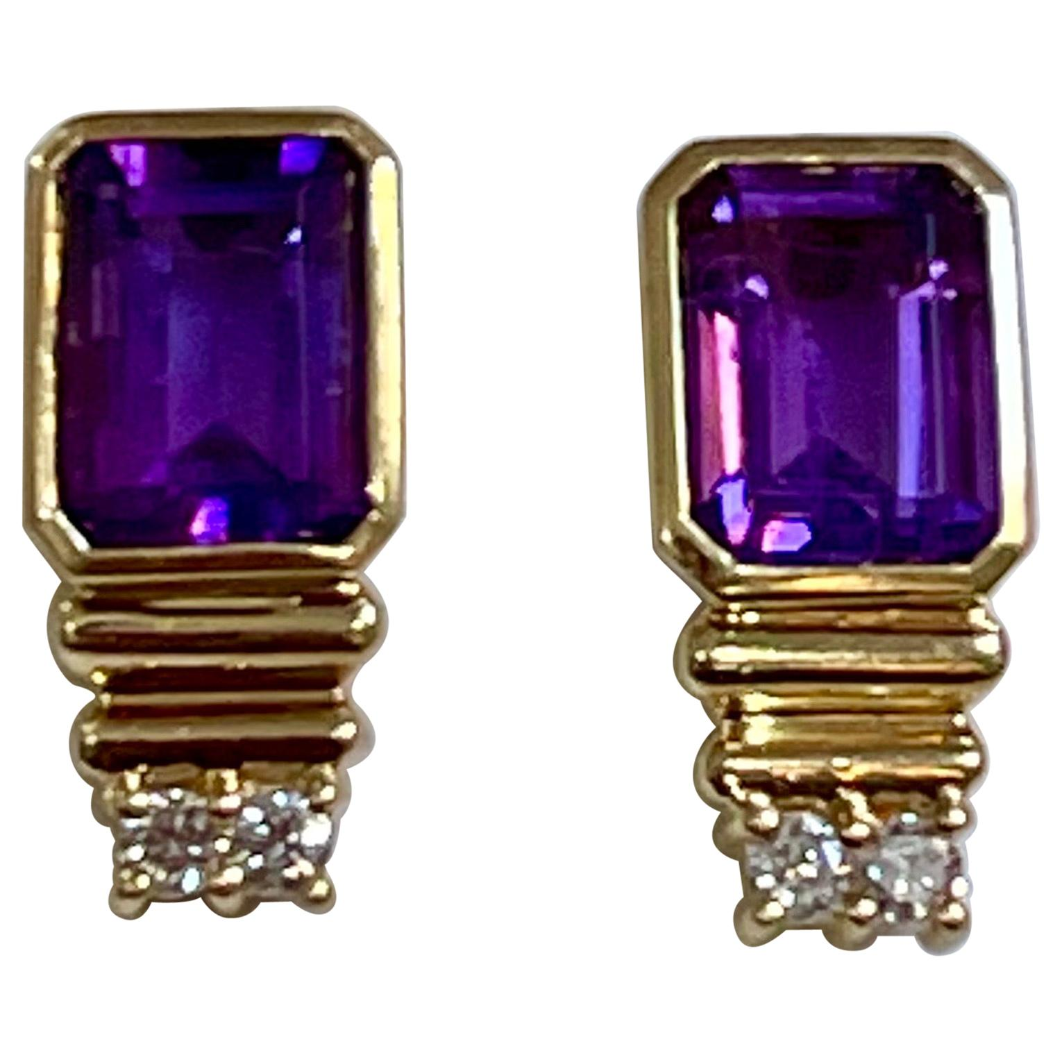 3 Carat Amethyst and Diamond 14 Karat Yellow Gold Earrings, Stud Post Earring