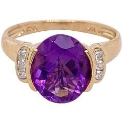 3 Carat Amethyst Diamond Ring 14 Karat Yellow Gold Oval Genuine Gemstone Ring