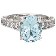 3 Carat Aquamarine Diamond Gemstone Ring Vintage 18 Karat White Gold Jewelry
