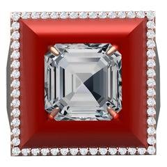 3 Carat Aquamarine Red Agate and Diamond Rose Gold Ring