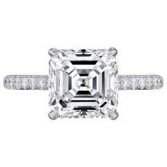 3 Carat Asscher Cut Square Emerald Engagement Platinum Ring