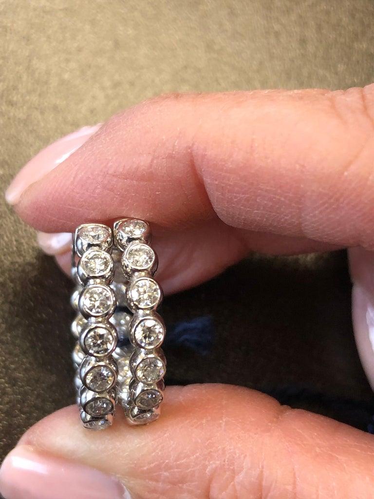 Round Cut 3 Carat Bezel Diamond Hoop Earrings 14 Karat For Sale