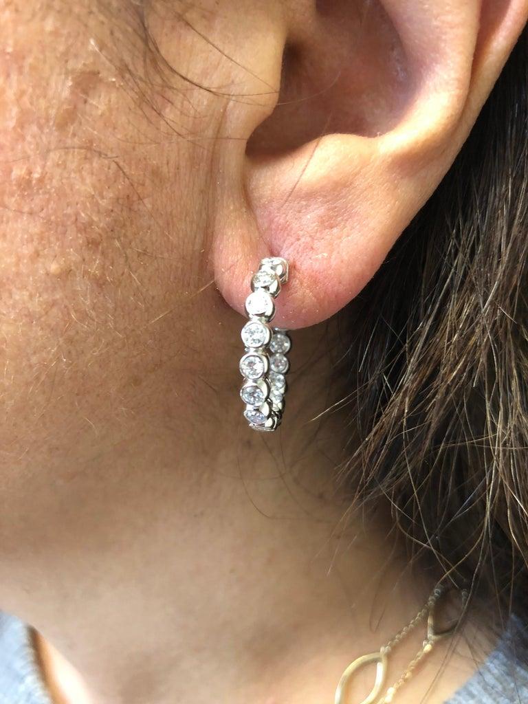 3 Carat Bezel Diamond Hoop Earrings 14 Karat In New Condition For Sale In Great Neck, NY