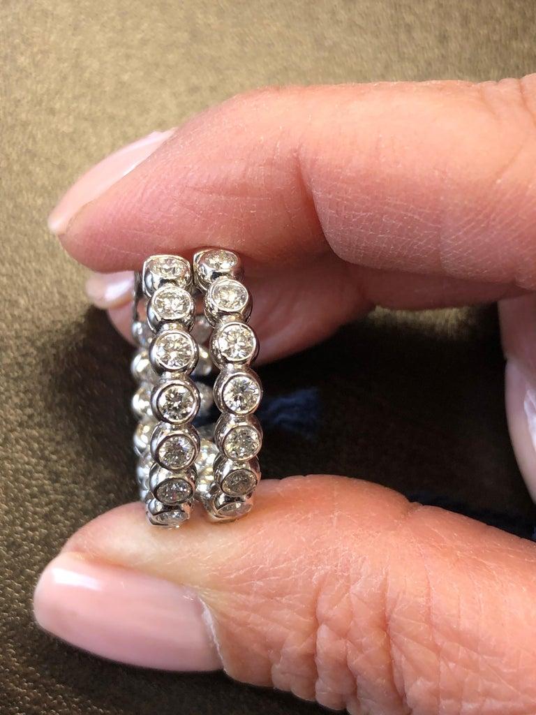 Women's 3 Carat Bezel Diamond Hoop Earrings 14 Karat For Sale