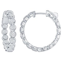 3 Carat Bezel Diamond Hoop Earrings 14 Karat