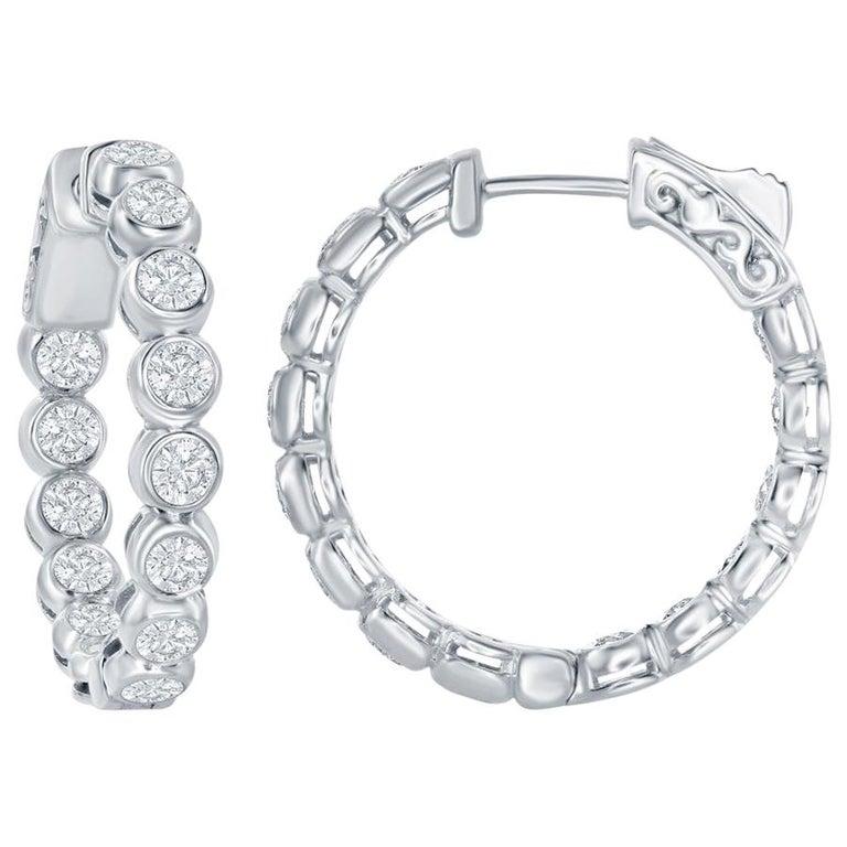 3 Carat Bezel Diamond Hoop Earrings 14 Karat For Sale