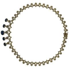 3 Carat Blue Sapphire, .10 Carat Dia Fleur-de-Lis Custom Estate Choker Necklace