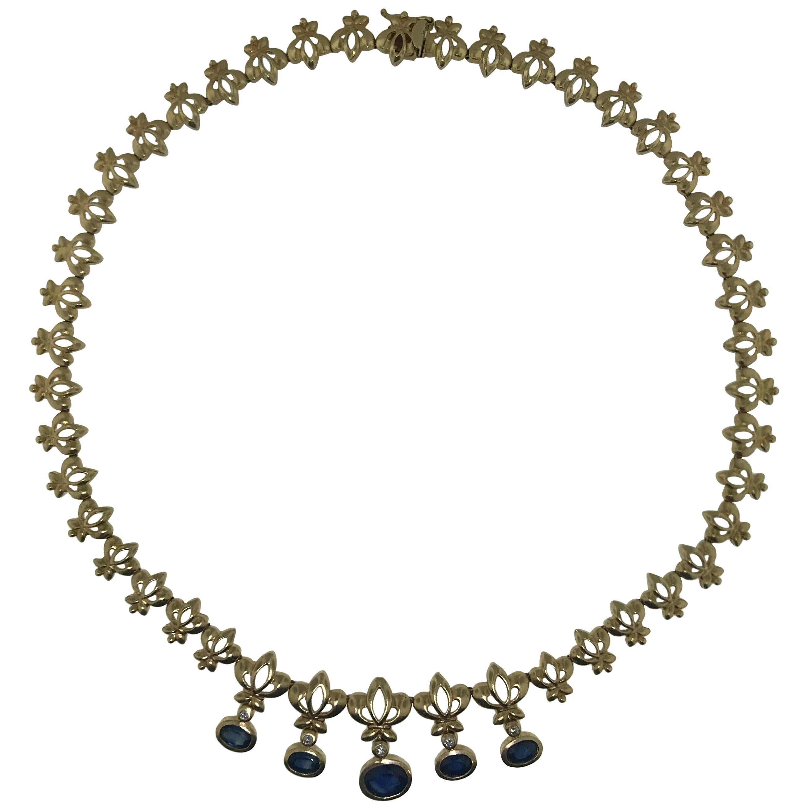 3 Carat Blue Sapphire  Fleur-de-Lis Custom Choker Necklace