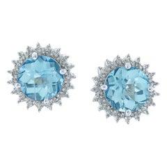 3 Carat Blue Topaz Earrings