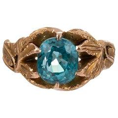 3 Carat Blue Zircon Leaf Motif Ring