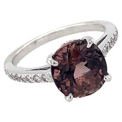 3 Carat Chocolate Pink Tourmaline Cushion Solitaire in White Gold with Diamonds