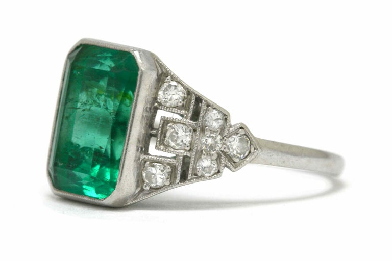 Certified Colombian Emerald Art Deco Engagement Ring Diamond Platinum 3 Carat In Good Condition For Sale In Santa Barbara, CA