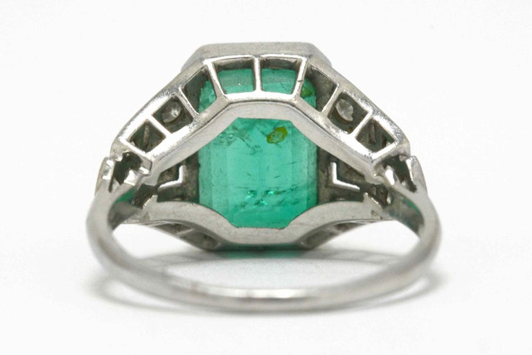 Women's Certified Colombian Emerald Art Deco Engagement Ring Diamond Platinum 3 Carat For Sale