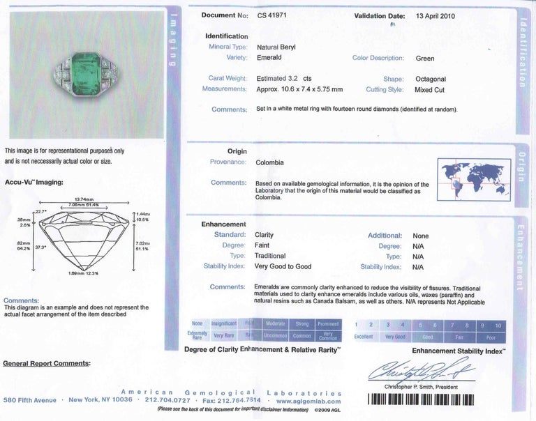 Certified Colombian Emerald Art Deco Engagement Ring Diamond Platinum 3 Carat For Sale 1