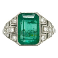 Certified Colombian Emerald Art Deco Engagement Ring Diamond Platinum 3.20 Ct