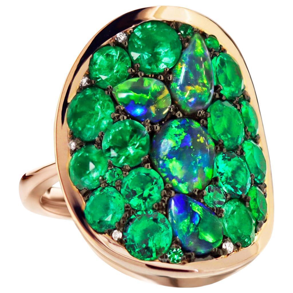 3 Carat Colombian Emerald Black Opal Diamond Pave Ring