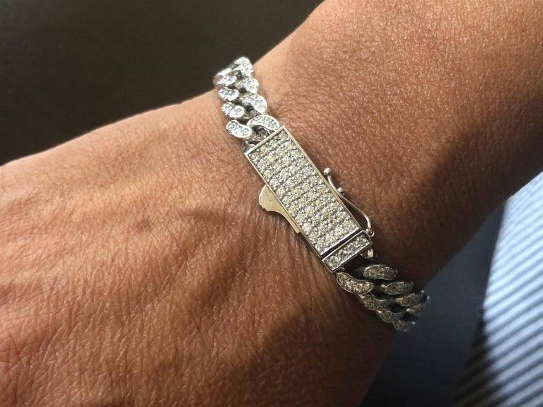 Modern 3 Carat Cuban Diamond Link Bracelet For Sale