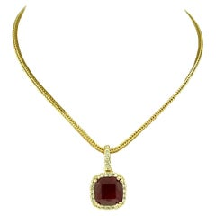 3 Carat Cushion Cut Ruby Pendant with Diamonds 14 Karat Yellow Gold Chain