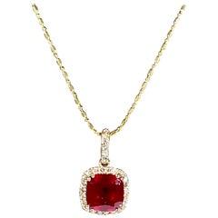 3 Carat Cushion Cut Ruby Pendant with Diamonds 14 Karat Yellow Gold Chain