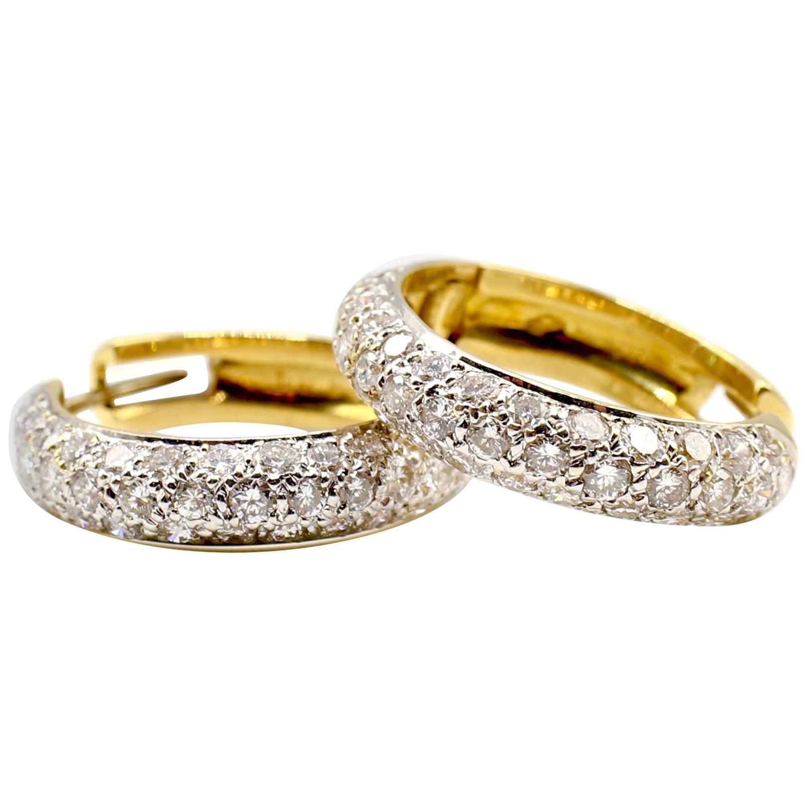 3 Carat Diamond 18 Karat Yellow Gold Hoop Drop Earrings