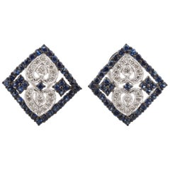 3 Carat Diamond and Sapphire Plaque Earrings in White Gold with Antiquing
