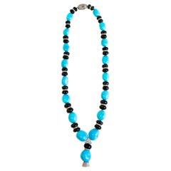 3 Carat Diamond and Turquoise Necklace