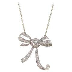 3 Carat Diamond Bow Platinum Necklace