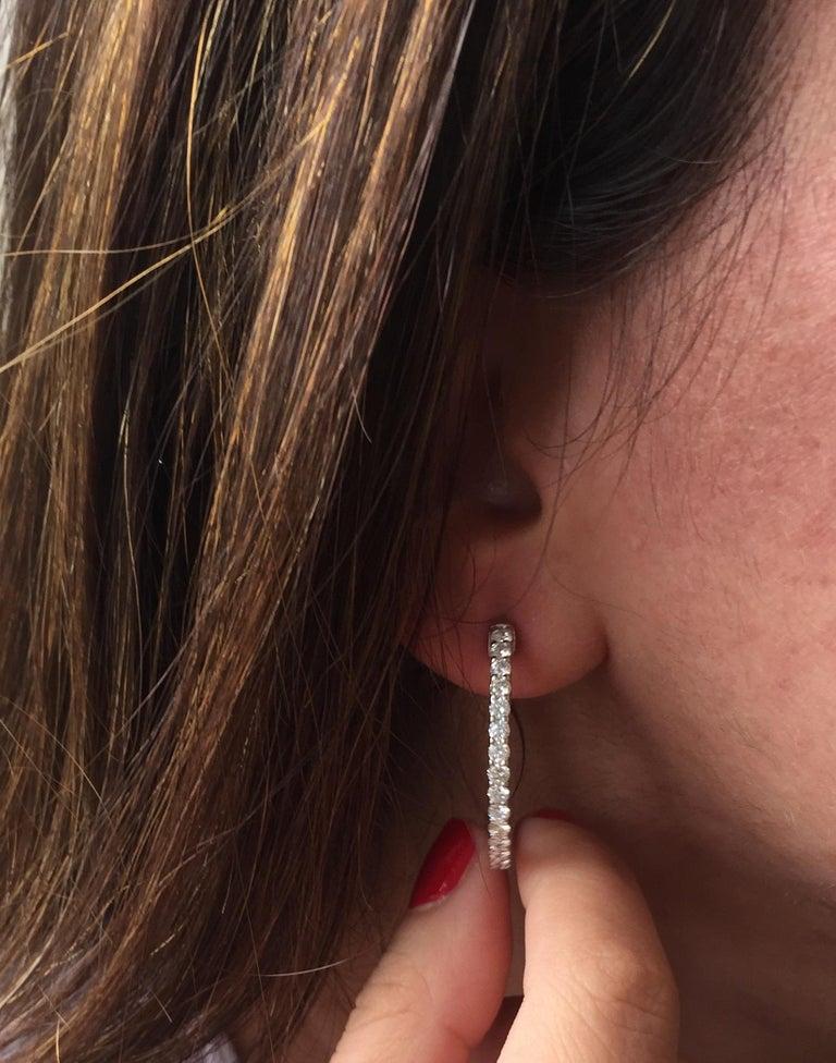 Women's 3 Carat Diamond Hoop Earrings For Sale