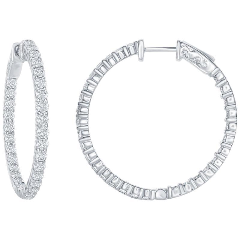 3 Carat Diamond Hoop Earrings