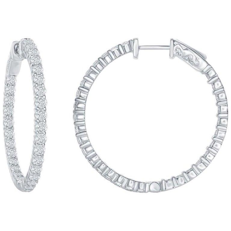 3 Carat Diamond Hoop Earrings For Sale
