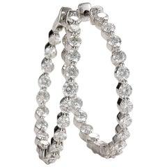 3 Carat Diamond Hoops, 14 Karat Gold