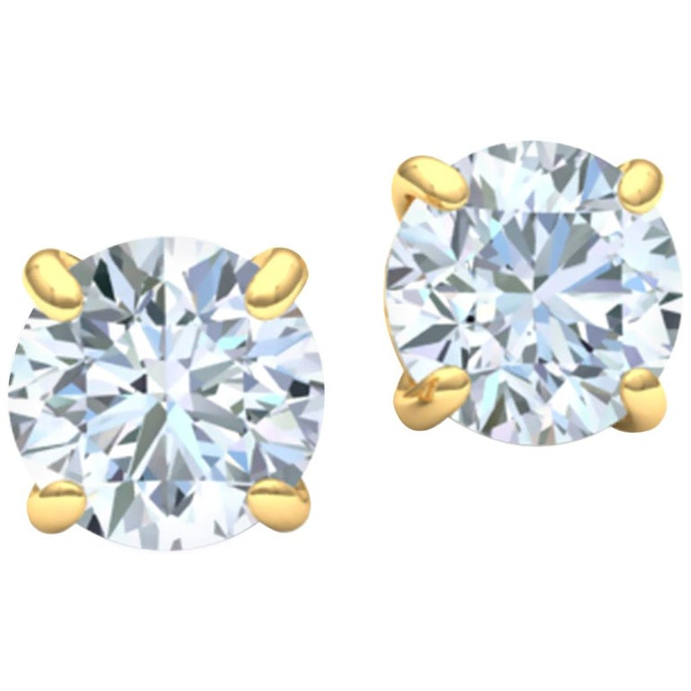 3 Carat Diamond Stud Earrings For Sale