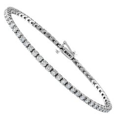3 Carat Diamond Tennis Bracelet, 14 Karat White Gold, I VS2 63 Round Diamonds